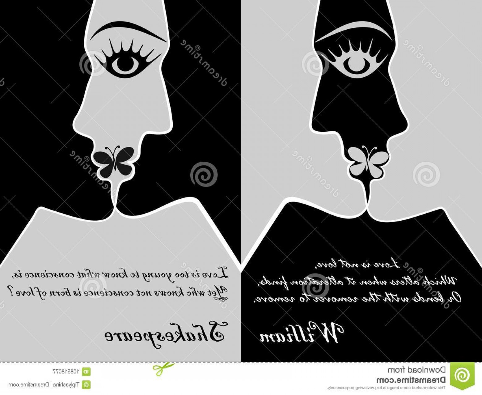 Kiss Clip Art Vector: Young Man Woman Have Merged Kiss Bottom William Shakespeare S Quote Vector Graphics Postcard Love Clip Art Image