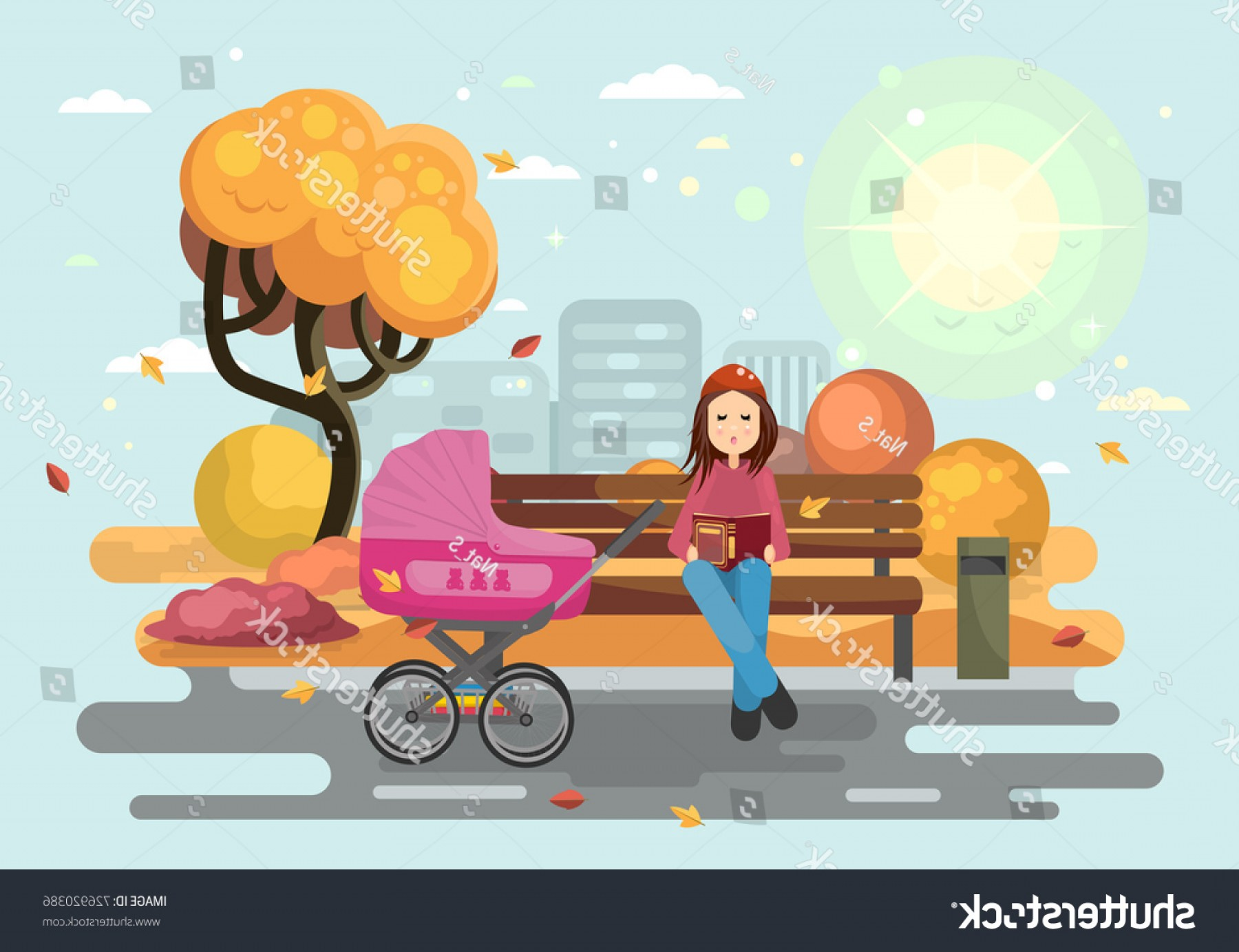 Babysitting In Diapers Vector Black: Young Mother Baby Carriage Autumn City