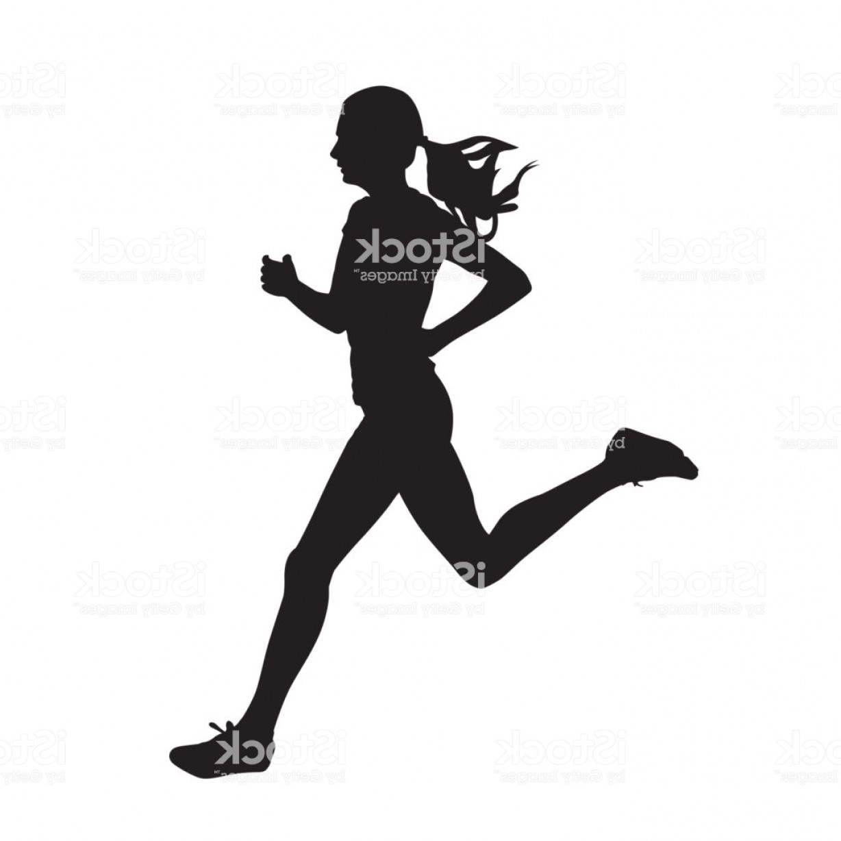 Vector Silhouette Of Girl Running Track: Young Running Woman Isolated Vector Silhouette Run Side View Gm