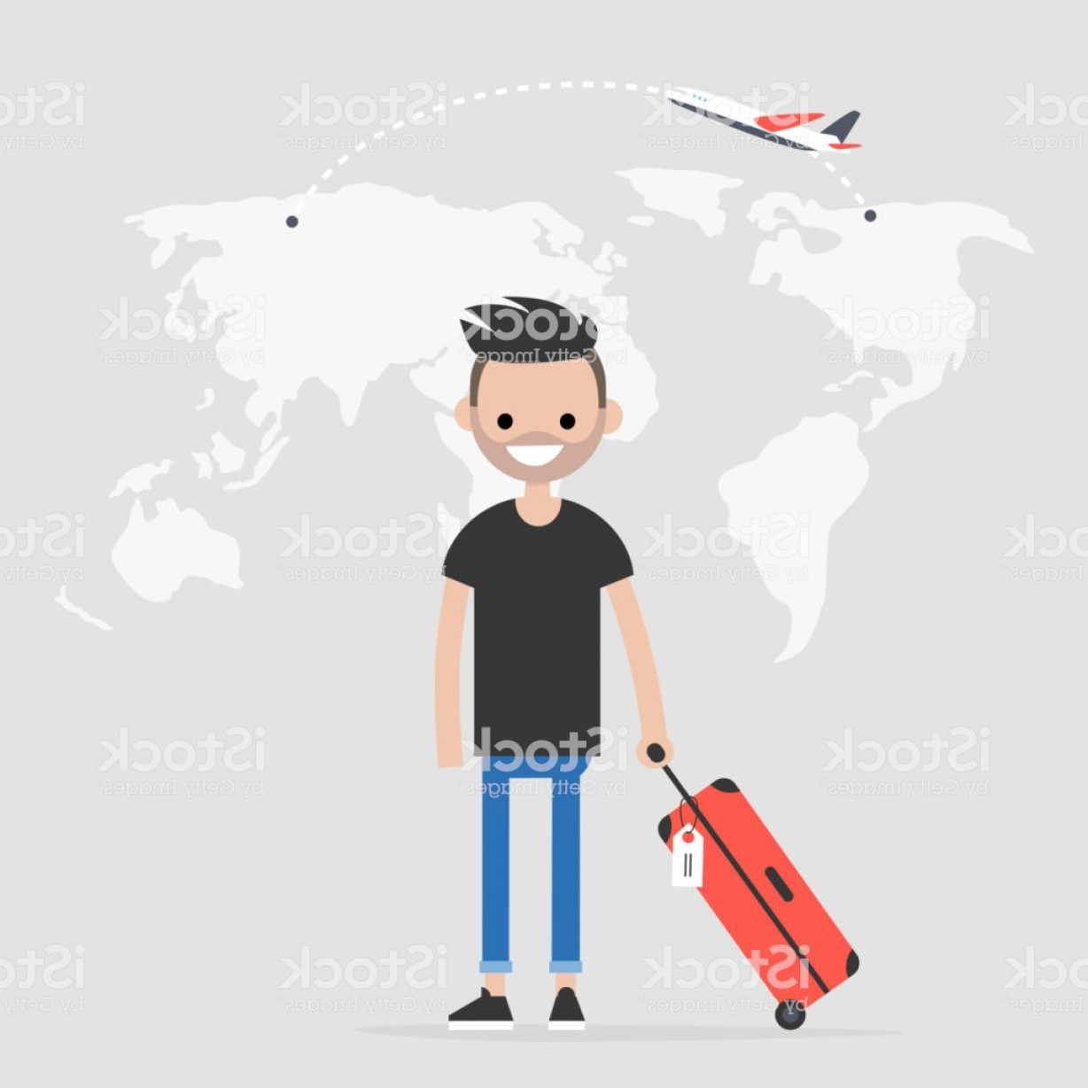 Vector Man Working In Cabin: Young Traveler Holding A Cabin Luggage Flight Destination Tourism World Map Flat Gm