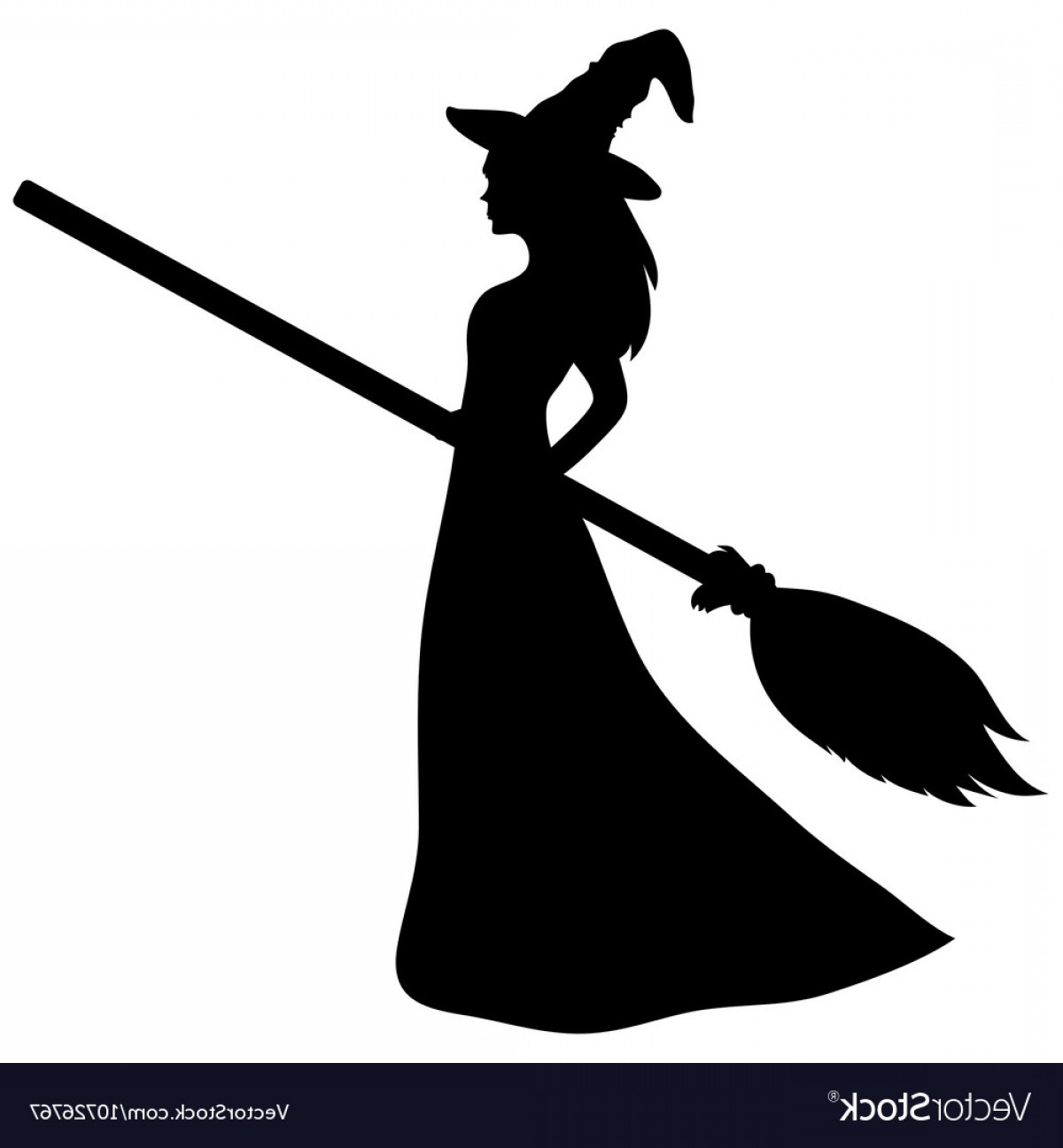 Witch Silhouette Vector: Young Witch With A Broom Silhouette Vector