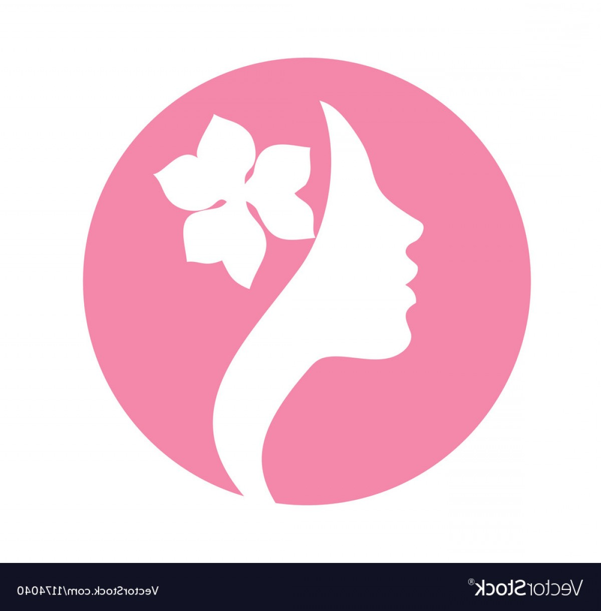 Icon Of Flower Vectors: Young Woman Face Profile Silhouette Pink Icon Vector