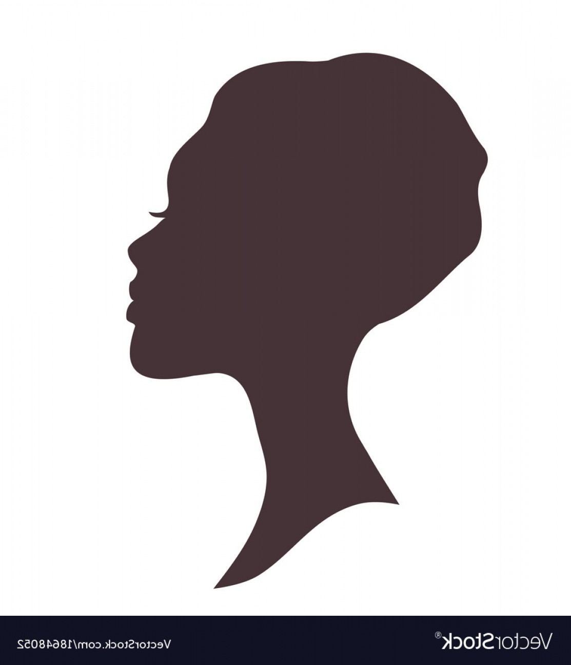 Young Woman Silhouette Vector: Young Woman Head Silhouette Vector