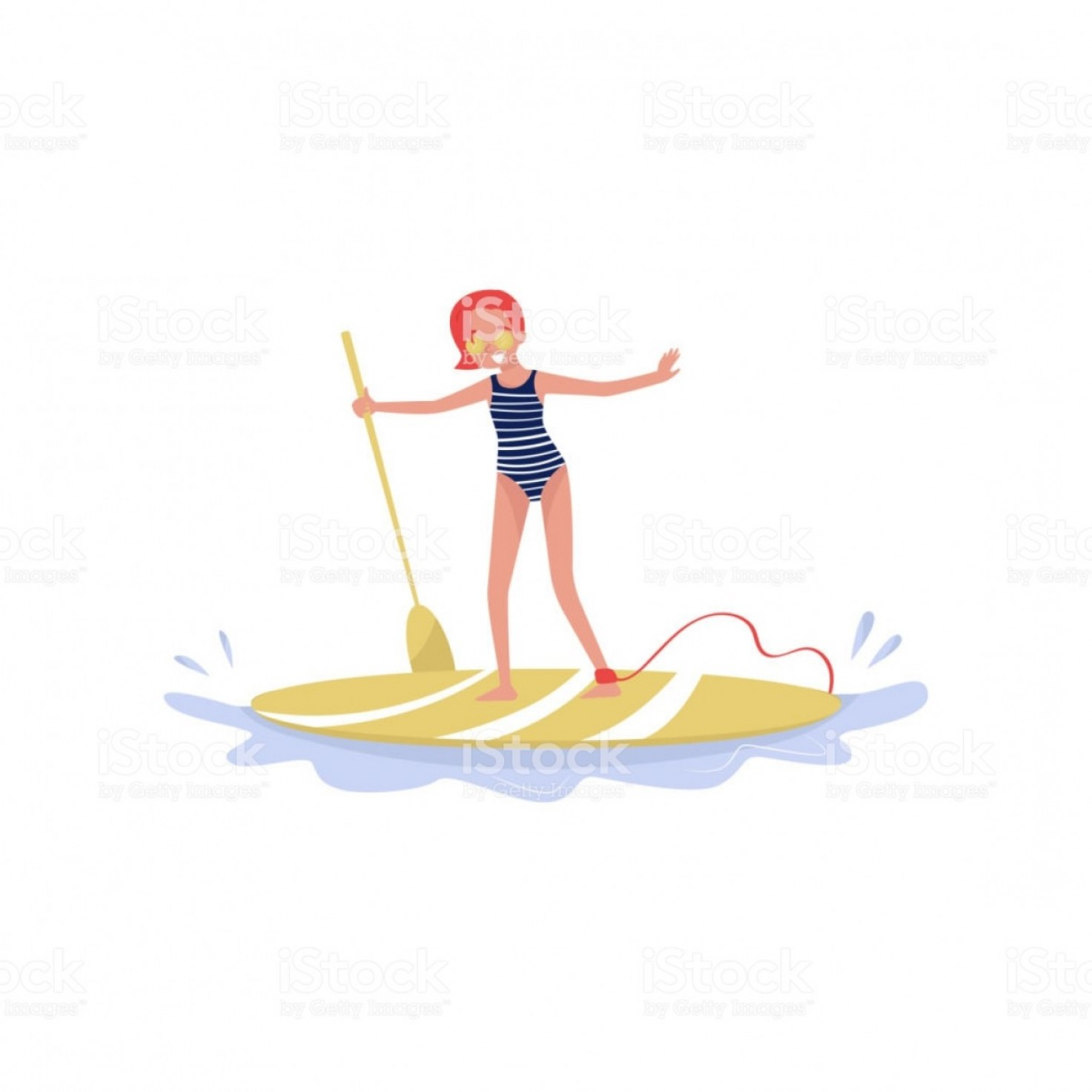 Paddleboard Vector Icons: Young Woman Standing On Paddle Board Paddleboarding Water Sport Cartoon Vector Gm