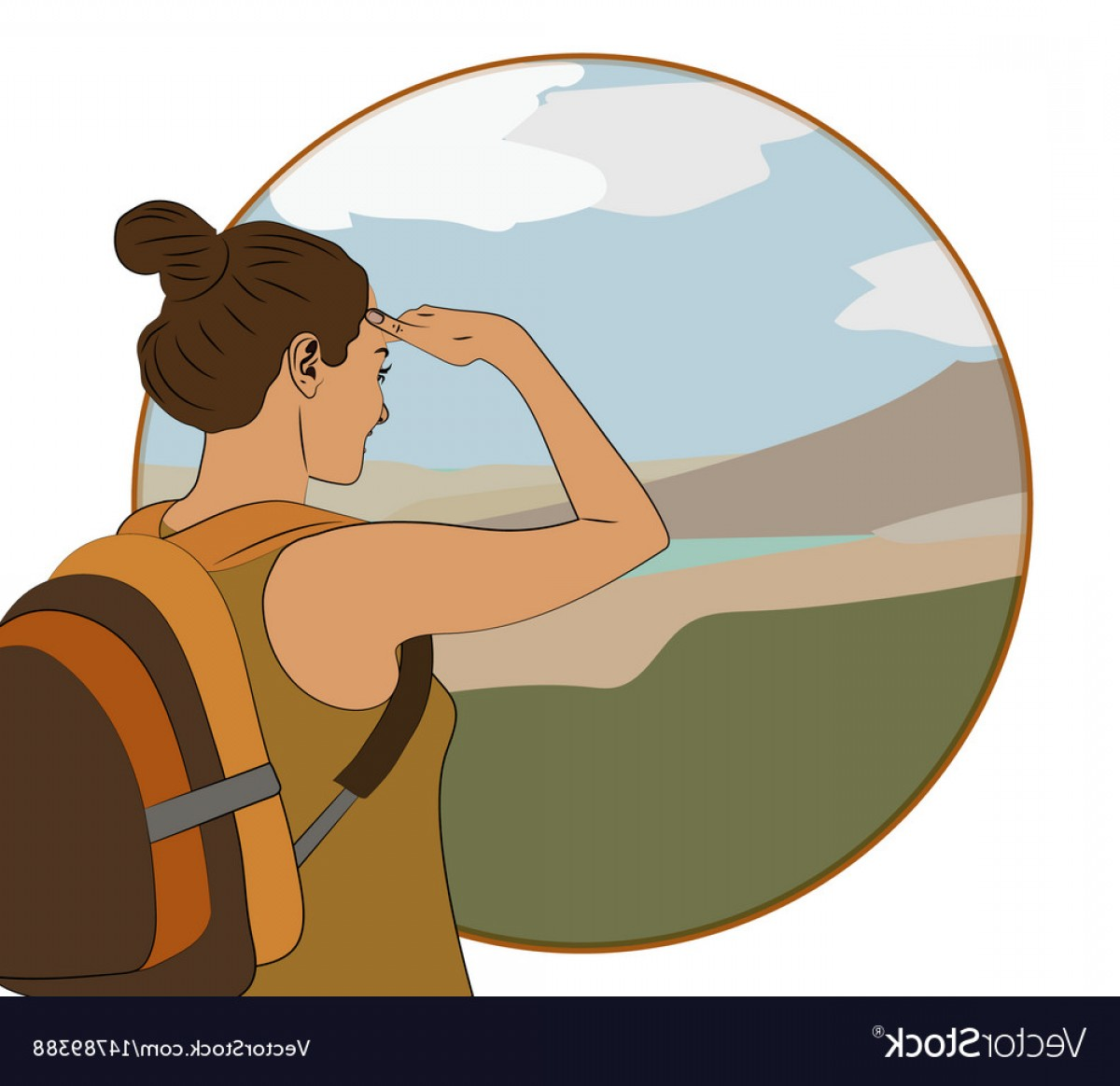 Mountain Trail Vector: Young Woman Walking Alone On A Mountain Trail Vector
