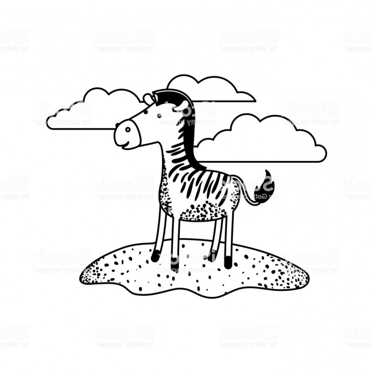 Black Horse Vector Scene: Zebra Cartoon In Outdoor Scene With Clouds In Black Sections Silhouette Gm