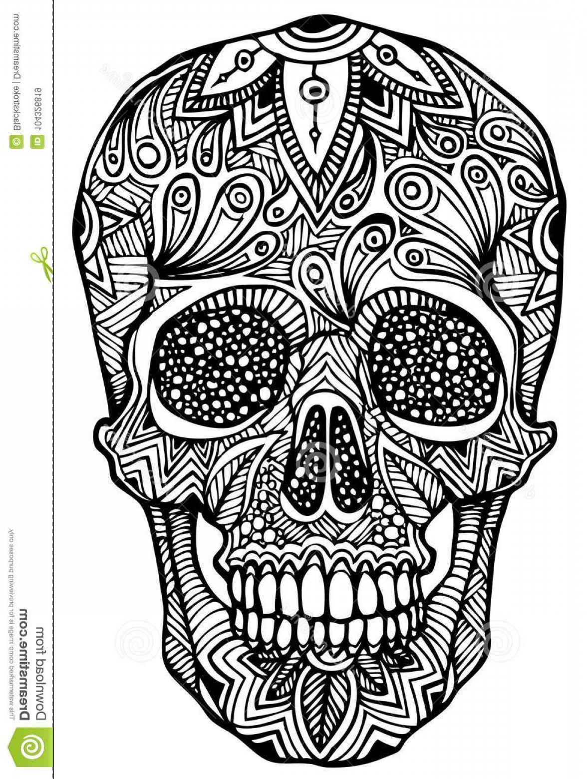 His And Hers Skulls Vector: Zentangle Vector File Authentic Patterns File Zentangle Skull Vector Image