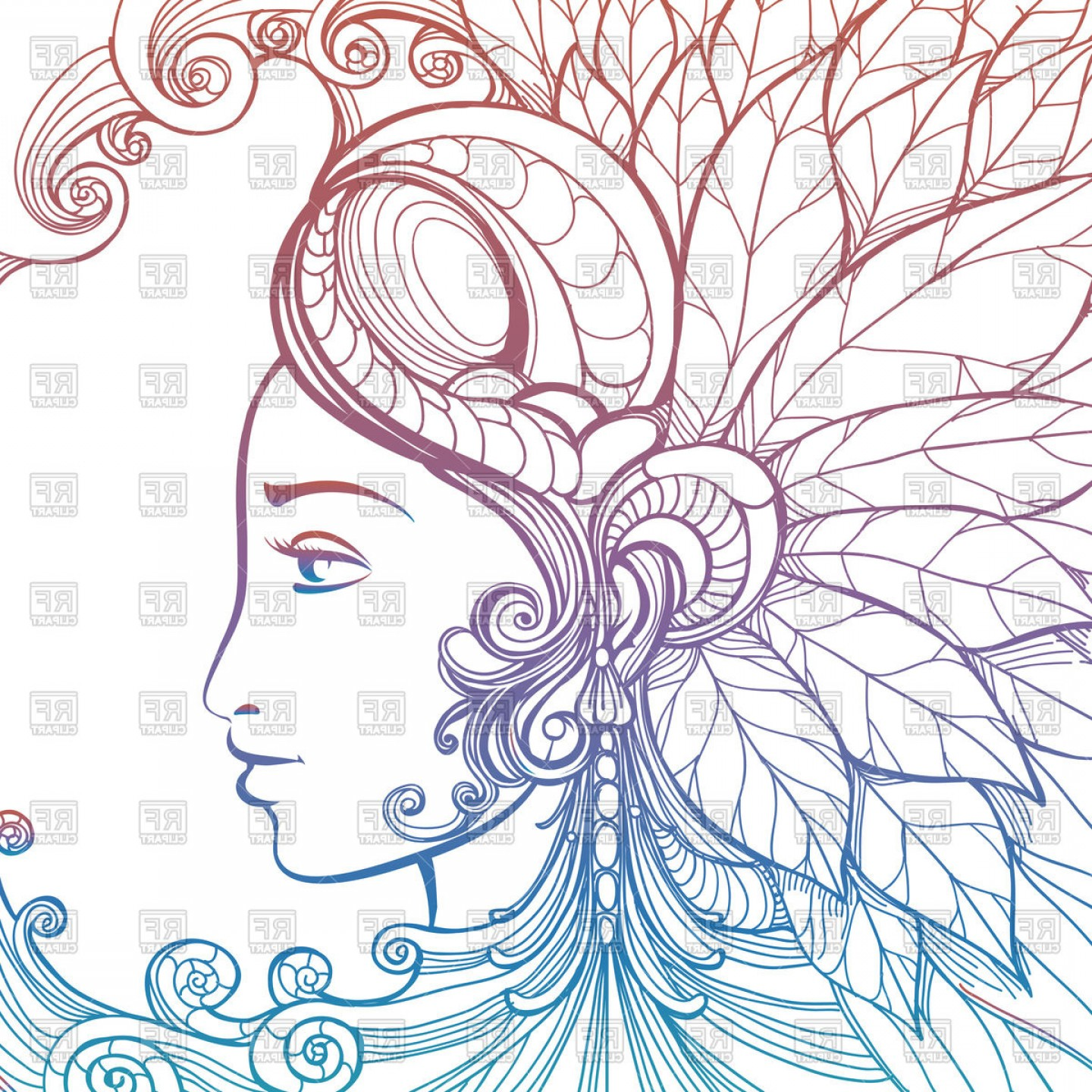 Zentangle Vector: Zentangle Woman Face With Ornament Vector Clipart