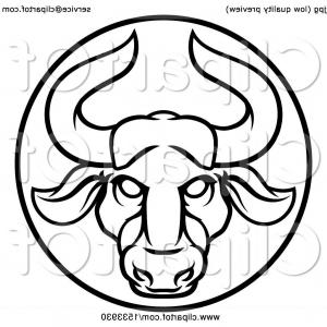 Taurus Vector: Taurus Bull Zodiac Sign Icon Vector