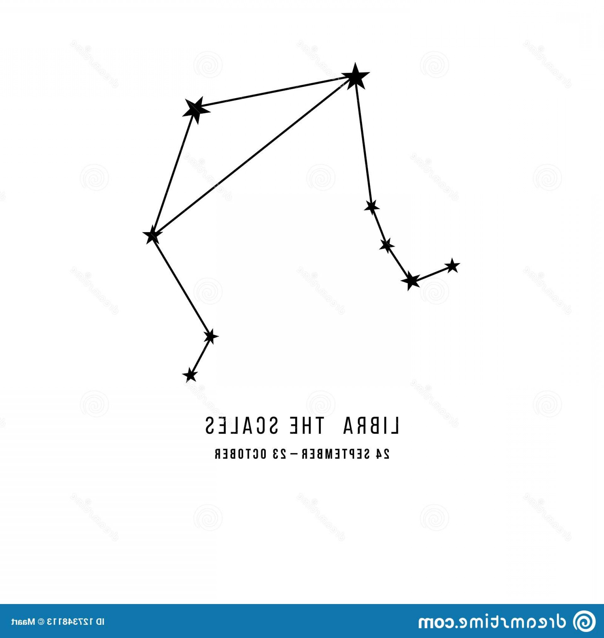 October Zodiac Constellation Vector: Zodiac Constellation Libra Scales Vector Illustration Image