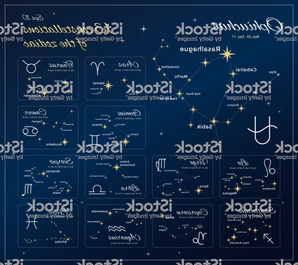 October Zodiac Constellation Vector: Zodiac Constellations Set Constellations With Titles Dates And Proper Names Of Gm