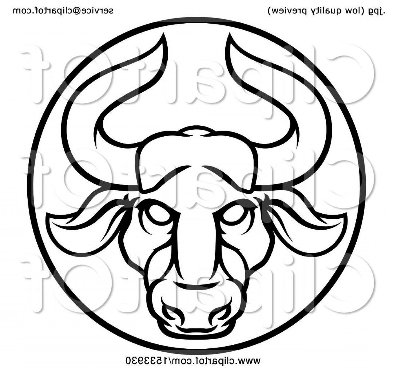 Taurus Vector: Zodiac Horoscope Astrology Taurus Bull Circle Design In Black And White